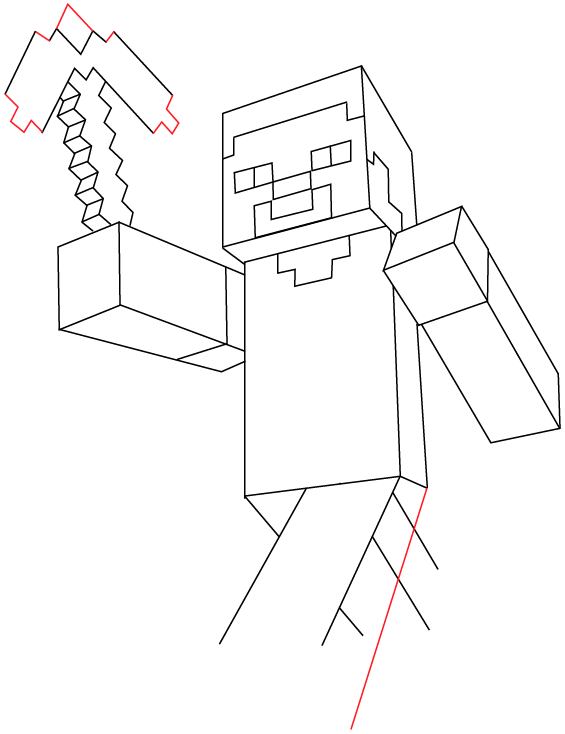 Step 10 drawing steve pickaxe from lego minecraft in easy steps lesson