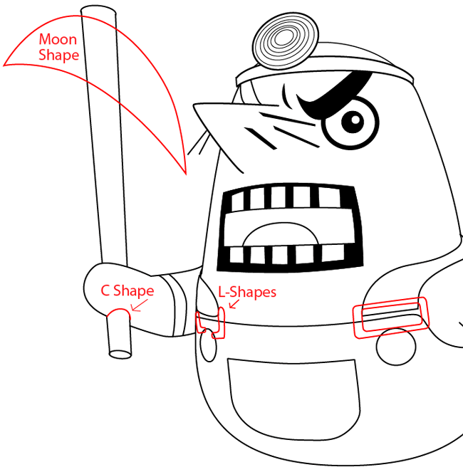 Step 10 : Drawing Resetti from Animal Crossing in Easy Steps Lesson