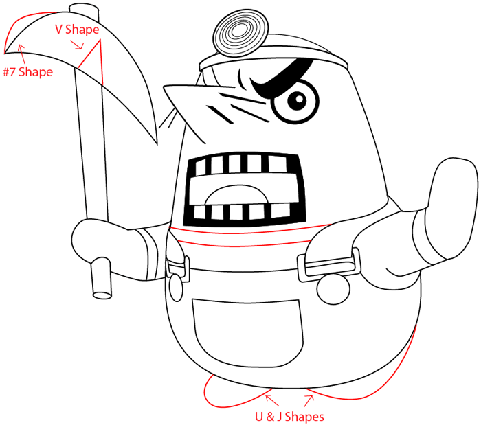 Step 11 : Drawing Resetti from Animal Crossing in Easy Steps Lesson