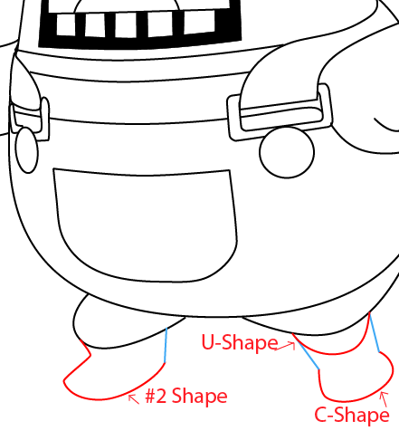 Step 12 : Drawing Resetti from Animal Crossing in Easy Steps Lesson