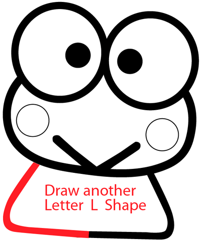 Step 5 : Drawing Keroppi from Hello Kitty in Easy Steps Lesson