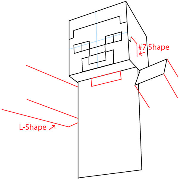 Step 5 : Drawing Steve Pickaxe from Lego Minecraft in Easy Steps Lesson
