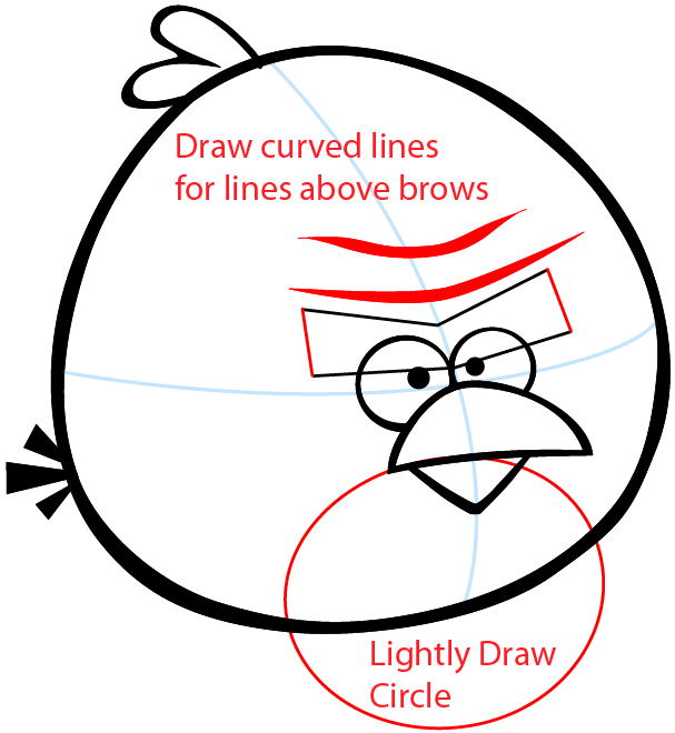 Step 5 : Drawing Terence from Angry Birds Space in Easy Steps Lesson