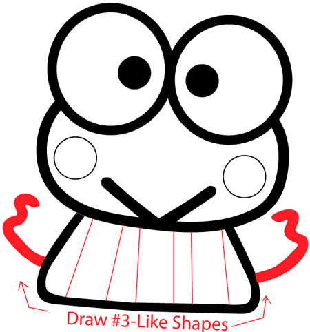 Step 6 : Drawing Keroppi from Hello Kitty in Easy Steps Lesson