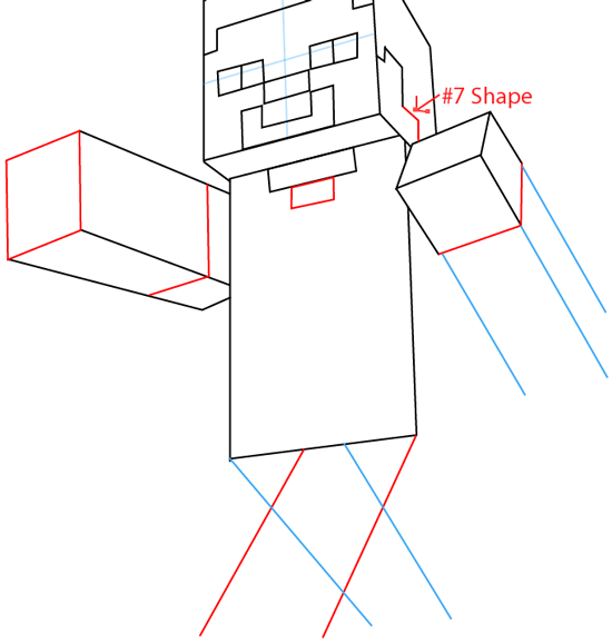 Step 6 : Drawing Steve Pickaxe from Lego Minecraft in Easy Steps Lesson