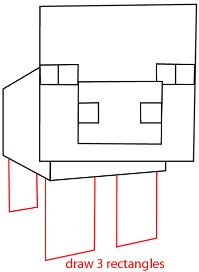 Step 6 : Drawing Pig From Minecraft in Easy Steps Lesson