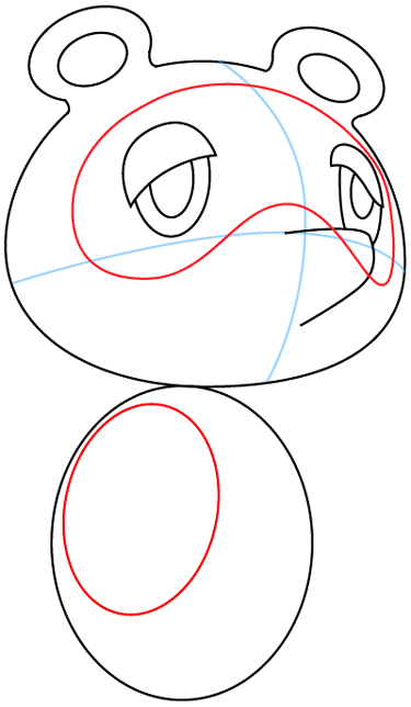 Step 6 : Drawing Tom Nook from Animal Crossing in Easy Steps Lesson