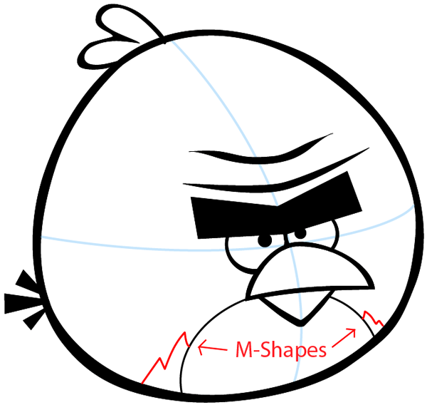 Step 6 : Drawing Terence from Angry Birds Space in Easy Steps Lesson