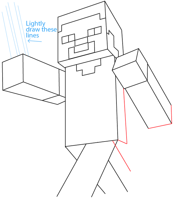 Step 7 drawing steve pickaxe from lego minecraft in easy steps lesson