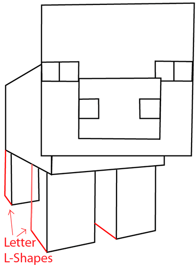 Step 7 : Drawing Pig From Minecraft in Easy Steps Lesson