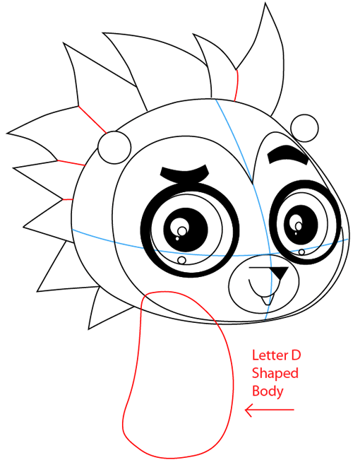 Step 7 : Drawing Russell Ferguson from Littlest Pet Shop in Easy Steps Lesson