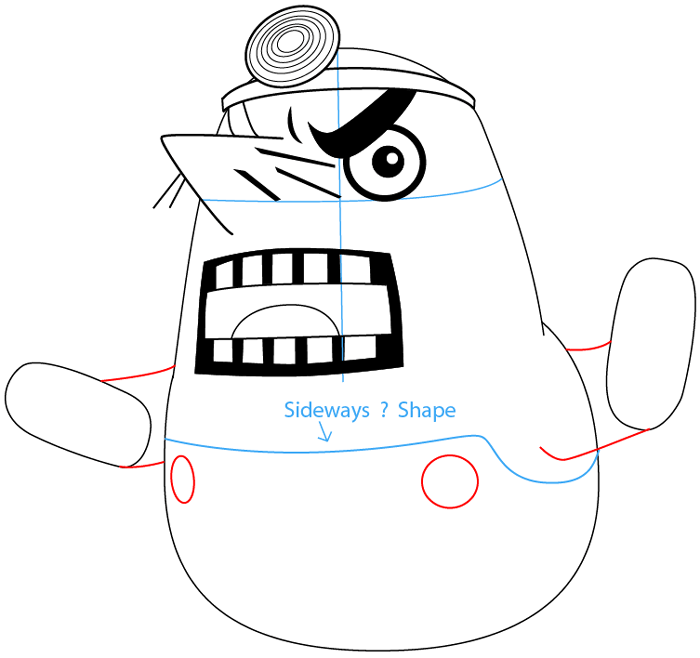Step 7 : Drawing Resetti from Animal Crossing in Easy Steps Lesson