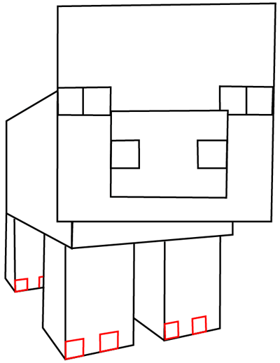 Step 8 : Drawing Pig From Minecraft in Easy Steps Lesson
