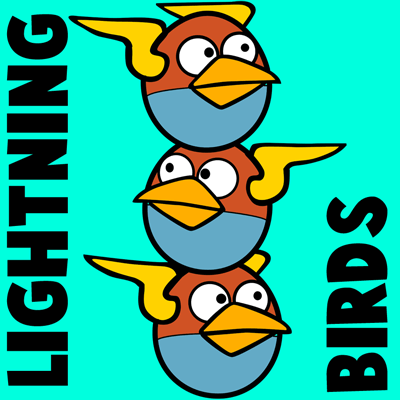 How to draw Lightning Birds from Angry Birds Space with easy step by step drawing tutorial