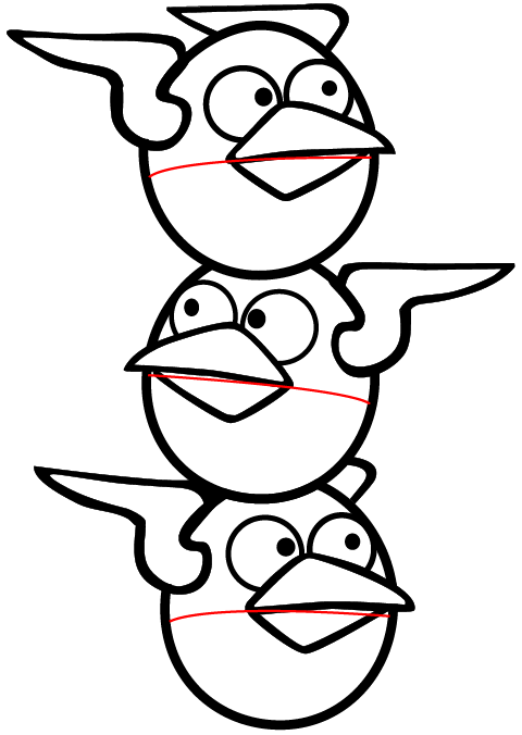 Step 7 : Drawing Lightning Birds from Angry Birds Space in Easy Steps Lesson