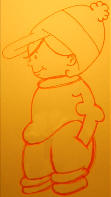 How to Draw a Cartoon Boy in a Winter Hat with Simple Shapes