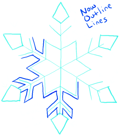 Snowflake Drawing Image Step By Step