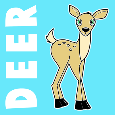 How to Draw Cartoon Baby Deer with Step by Step Drawing Lesson