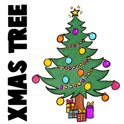 How to Draw a Christmas Tree with Gifts & Presents Under it - How ...