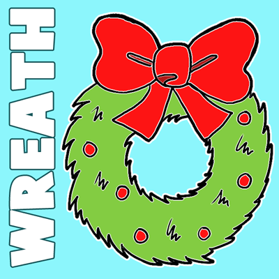 How to Draw Cartoon Christmas Wreaths