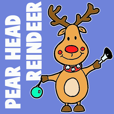 Simple Cartoon Reindeer with Christmas Ornament and Bell