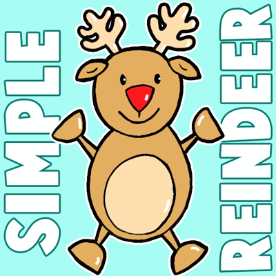 How to Draw a Christmas Reindeer for Preschoolers and Children