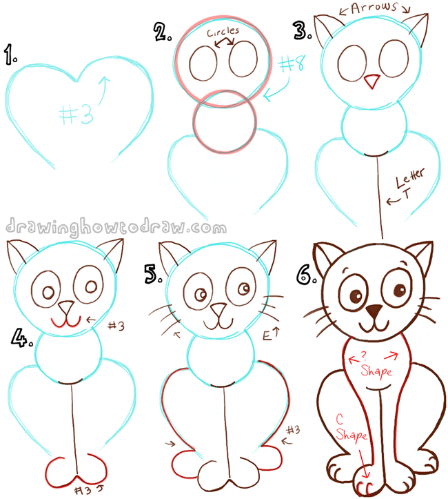 Draw a cartoon cat with a number 3 shape