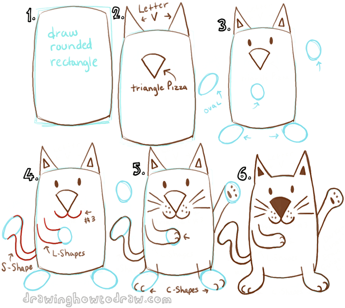 Draw a cartoon cat with a rectangle