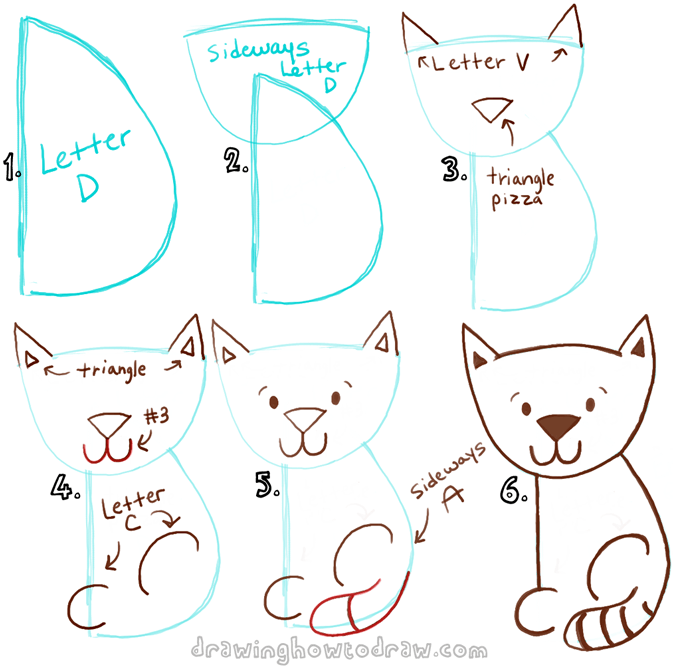 Draw a cartoon cat with a capital letter d shape