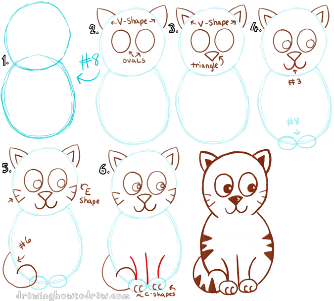 draw a cartoon cat with a number 8 shape - Basic Drawings For Kids