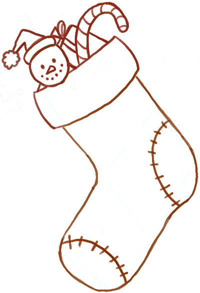 How to Draw Christmas Stockings with Easy Steps for Kids