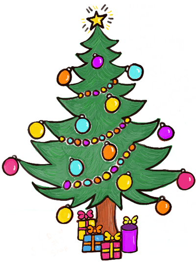 Cartoon christmas tree with gifts image