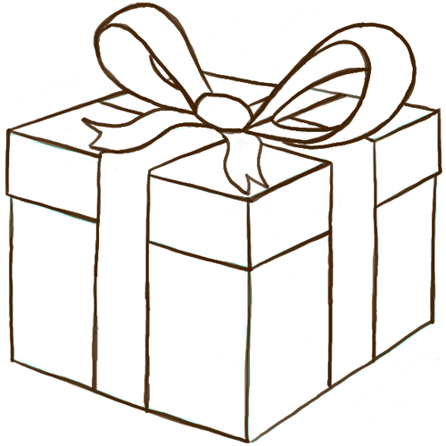 How To Draw A Wrapped Gift Or Present With Ribbon And Bow - How To Draw Step By Step Drawing ...
