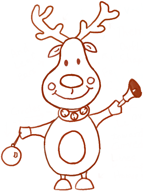 How to Draw Cartoon Reindeers with Christmas Bell and Ornament