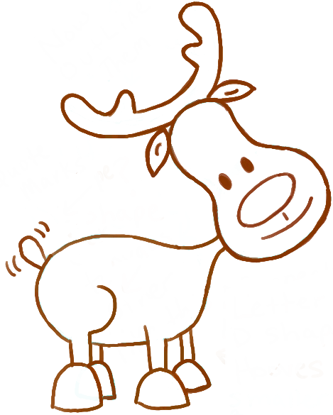 Reindeer Face Line Drawing : How to draw a cute cartoon reindeer for christmas