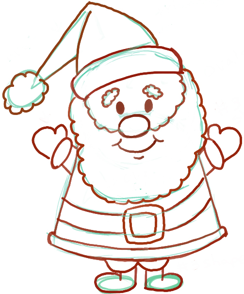 Line Drawing Santa Face : Easy instructions for how to draw santa clause kids
