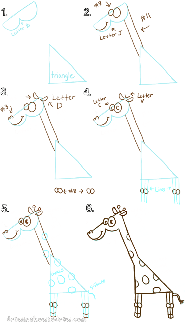 draw a giraffe with a capital letter b shape
