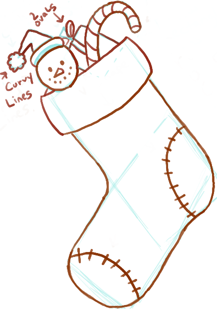 How to Draw Christmas Stockings with Easy Steps for Kids ...