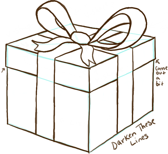 Line Art Box Designs : How to draw a wrapped gift or present with ribbon and bow