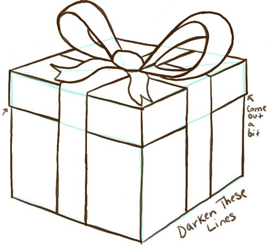 Коробка с подарком нарисованная 22