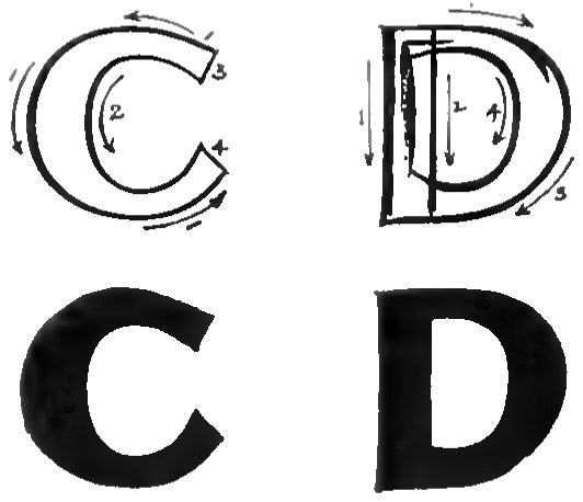 bubble letters C and D
