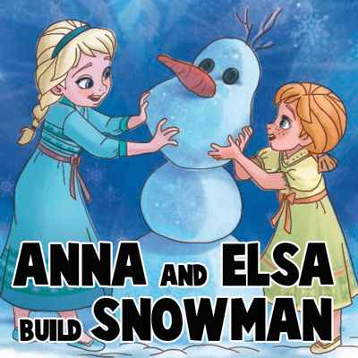 How to Draw Anna and Ella Building a Snowman from Frozen with Step by Step Instructions