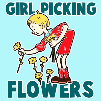 How to Draw a Girl Picking Flowers for Valentines Day or Mothers Day