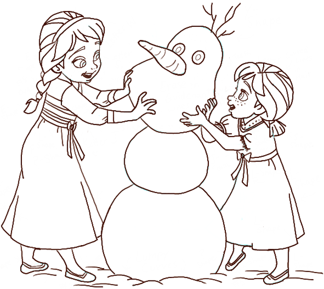 Finished Drawing of Princess Anna and Princess Elsa Building a Snowman