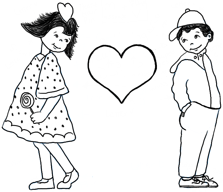 How to draw boy and girl in puppy love for valentines day