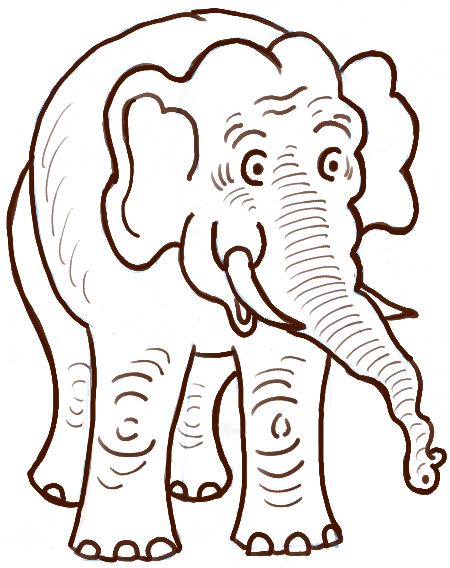 How to draw easy cartoon elephants with simple steps