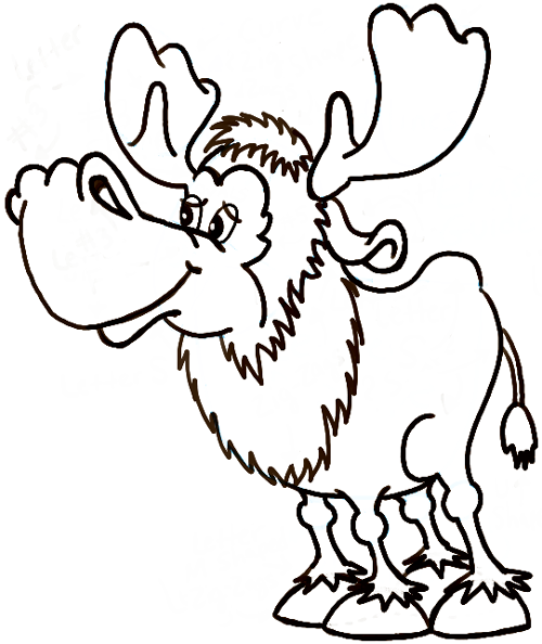 how to draw a moose face