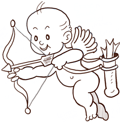 Drawing Cartoon Baby Cupid with a Bow and Arrows Step by Step Drawing Tutorial