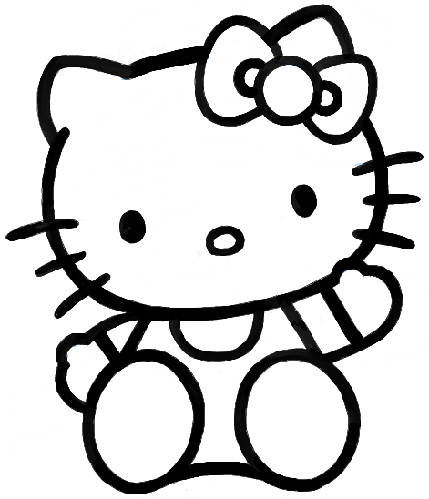 Line Drawing Kitty : How to draw hello kitty sitting with simple steps for kids