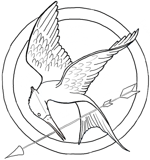 D Line Drawing Game : How to draw the hunger games logo aka mockingjay pin